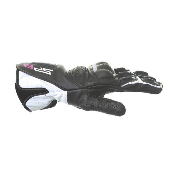 Alpinestars SP-8 V2 Ladies Black White Fuchsia Motorcycle Gloves Thumb side