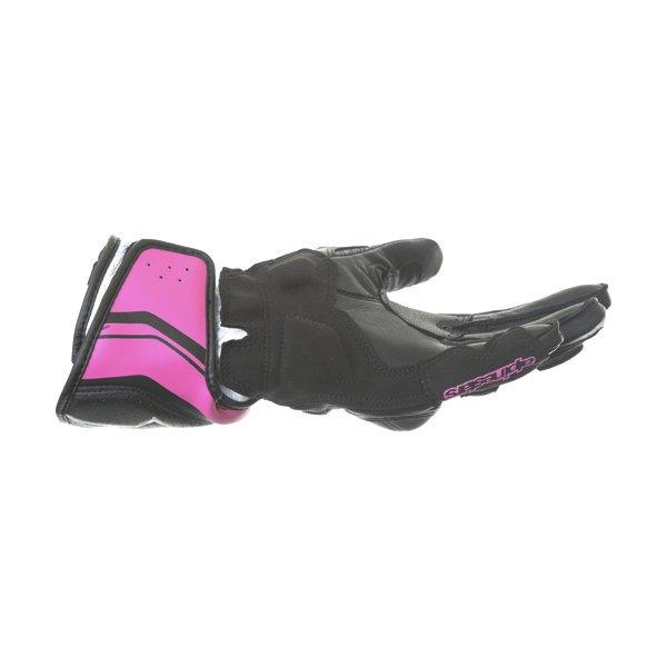 Alpinestars SP-8 V2 Ladies Black White Fuchsia Motorcycle Gloves Little finger side