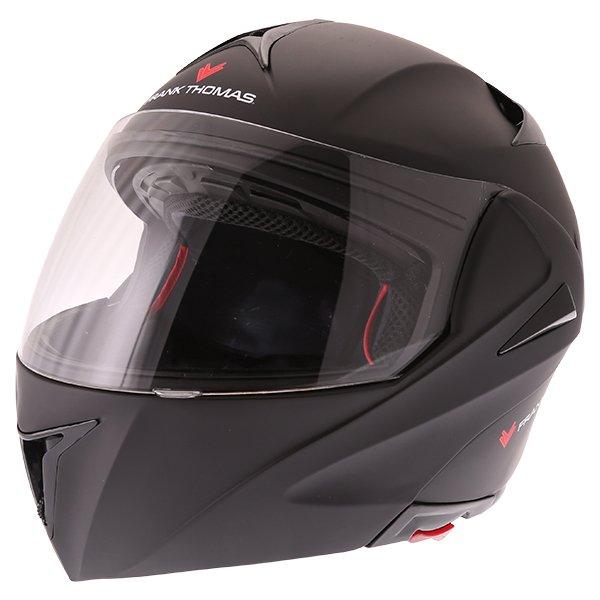 Frank Thomas FLH01 Matt Black Flip Front Motorcycle Helmet Front Left