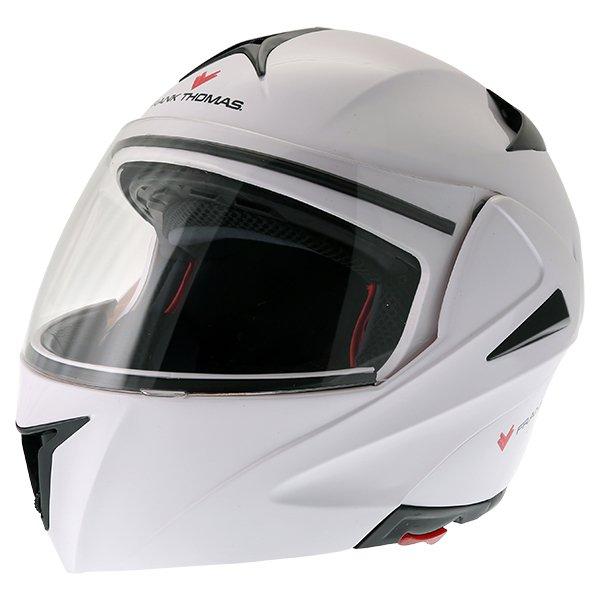 Frank Thomas FLH01 White Flip Front Motorcycle Helmet Front Left
