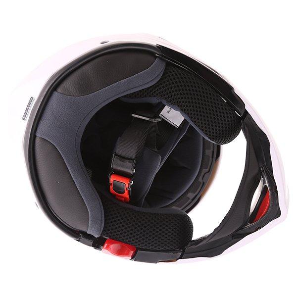 Frank Thomas FLH01 White Flip Front Motorcycle Helmet Inside
