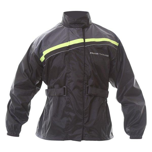Frank Thomas Dallas Ladies Black Yellow Motorcycle Rain Jacket Front