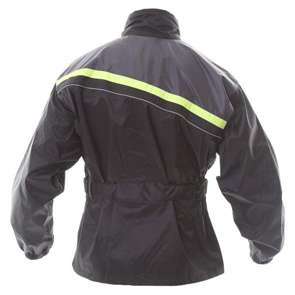 Frank Thomas Dallas Ladies Black Yellow Motorcycle Rain Jacket Back