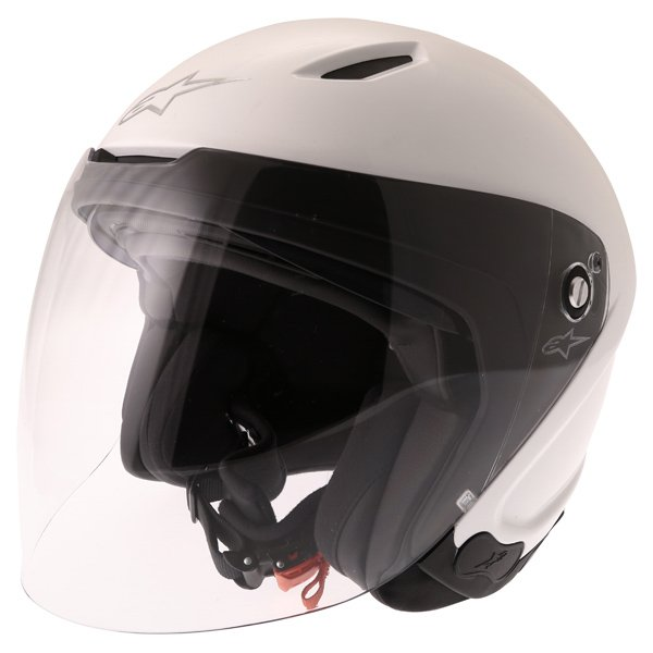 Alpinestars Novus White Open Face Motorcycle Helmet Front Left