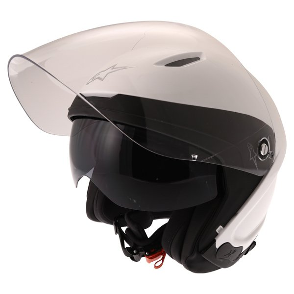 Alpinestars Novus White Open Face Motorcycle Helmet With Sun Visor