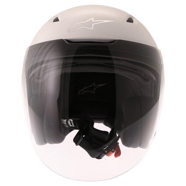 Alpinestars Novus White Open Face Motorcycle Helmet Front