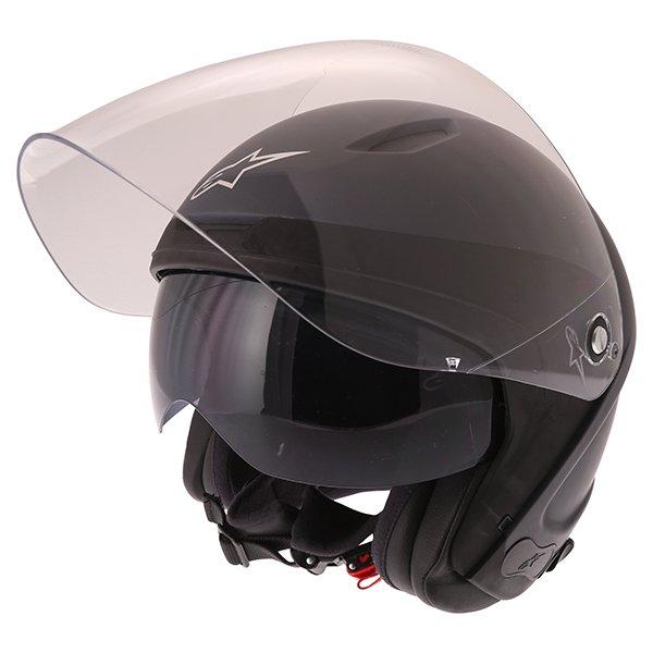 Alpinestars Novus Matt Black Open Face Motorcycle Helmet With Sun Visor