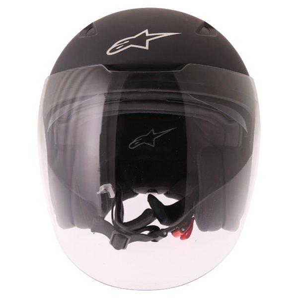 Alpinestars Novus Matt Black Open Face Motorcycle Helmet Front