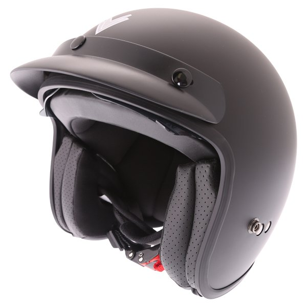 Frank Thomas DV37 Matt Black Open Face Motorcycle Helmet Front Left