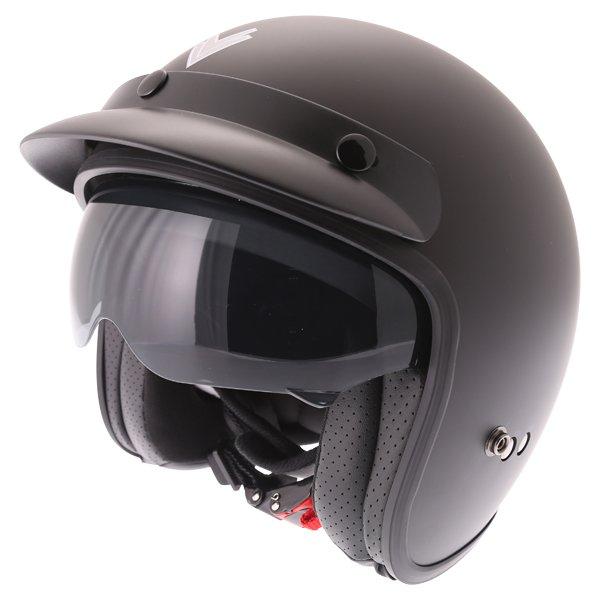 Frank Thomas DV37 Matt Black Open Face Motorcycle Helmet With Sun Visor