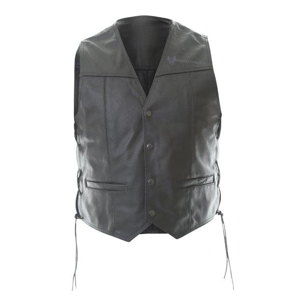 Frank Thomas BGT Black Leather Waistcoat Front