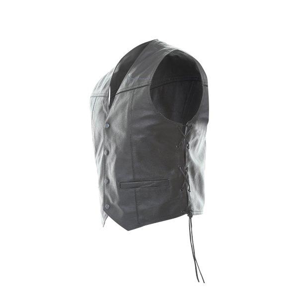Frank Thomas BGT Black Leather Waistcoat Side