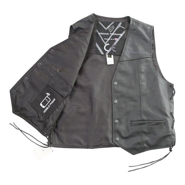Frank Thomas BGT Black Leather Waistcoat Inside