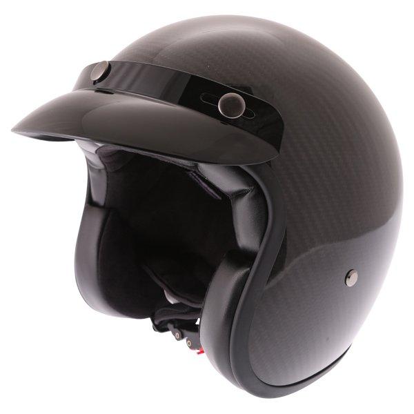 Frank Thomas Carbon 361 Black Open Face Motorcycle Helmet Front Left