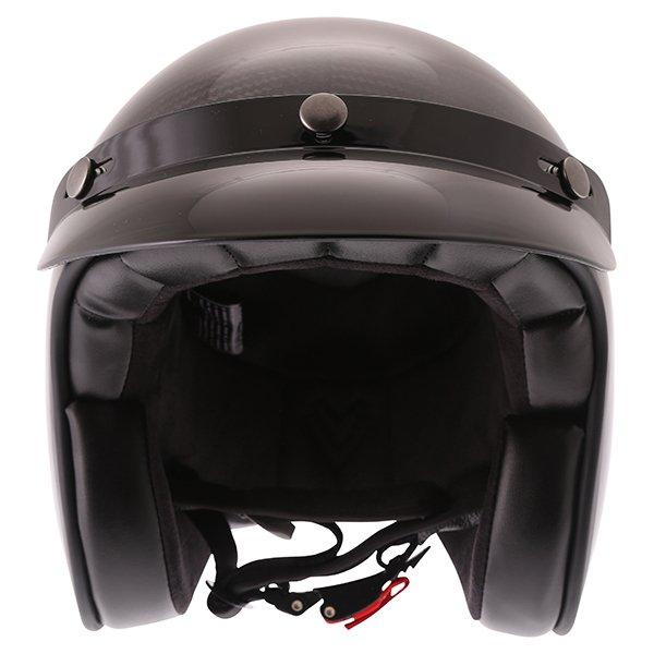 Frank Thomas Carbon 361 Black Open Face Motorcycle Helmet Front