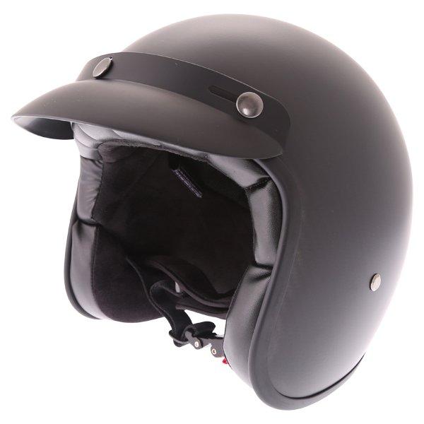 Frank Thomas Carbon 361 Matt Black Open Face Motorcycle Helmet Front Left