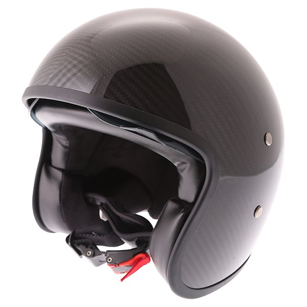 Frank Thomas Carbon 363 Black Open Face Motorcycle Helmet Front Left