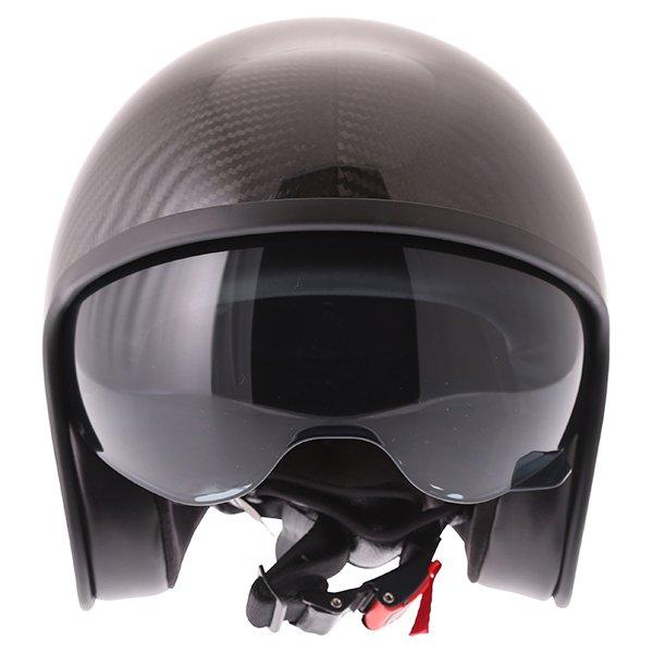 Frank Thomas Carbon 363 Black Open Face Motorcycle Helmet Front