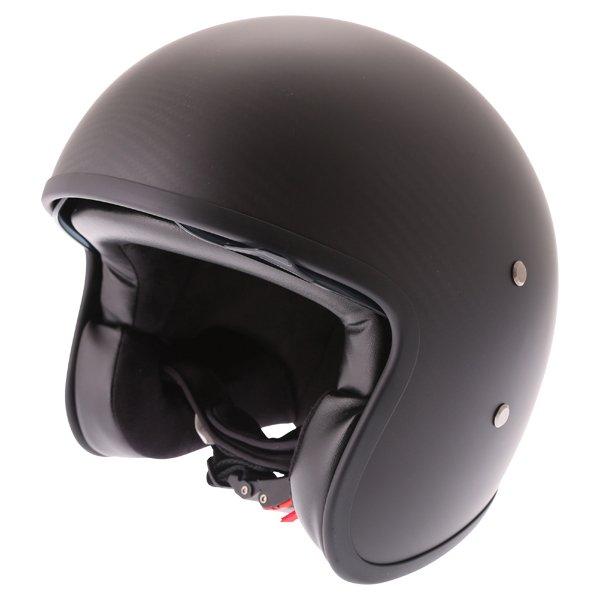 Frank Thomas Carbon 363 Matt Black Open Face Motorcycle Helmet Front Left