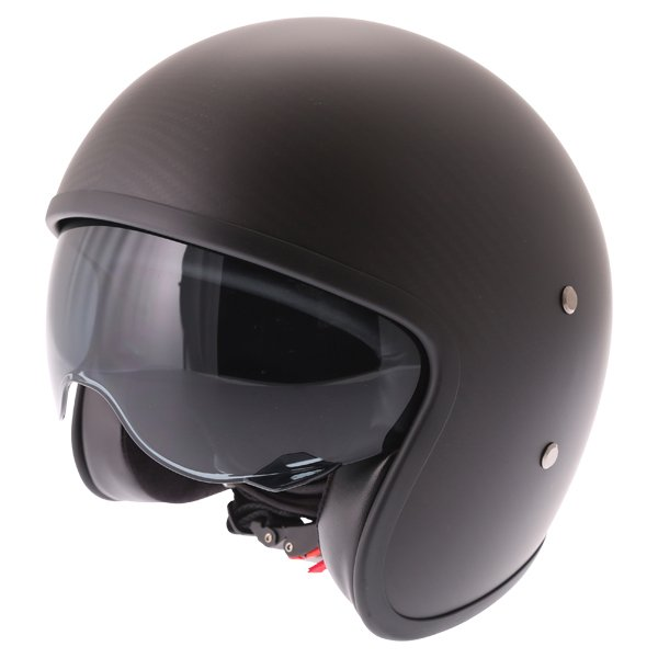 Frank Thomas Carbon 363 Matt Black Open Face Motorcycle Helmet With Sun Visor