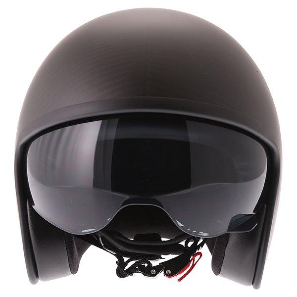 Frank Thomas Carbon 363 Matt Black Open Face Motorcycle Helmet Front