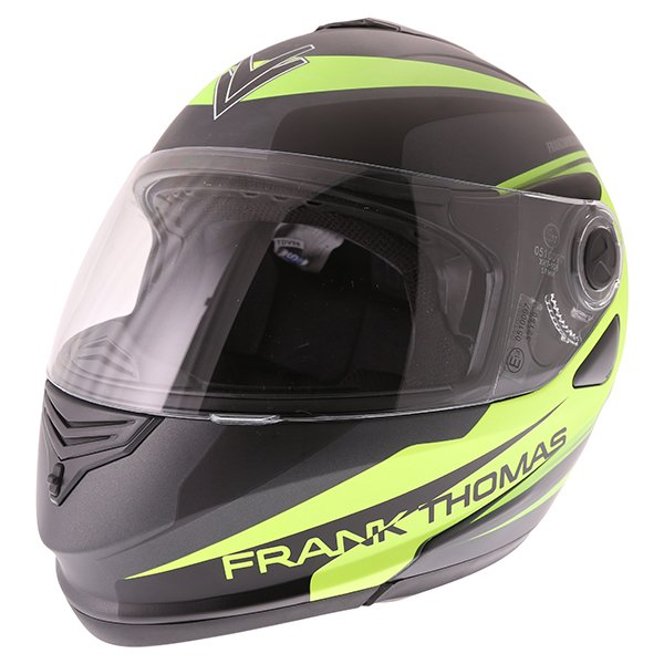 Frank Thomas DV06 Matt Black Neo Yellow Flip Front Motorcycle Helmet Front Left