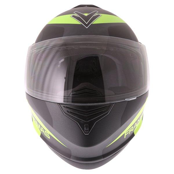 Frank Thomas DV06 Matt Black Neo Yellow Flip Front Motorcycle Helmet Front