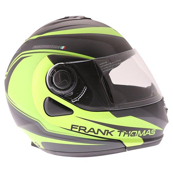 Frank Thomas DV06 Matt Black Neo Yellow Flip Front Motorcycle Helmet Right Side