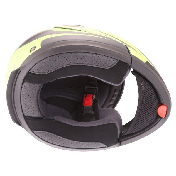 Frank Thomas DV06 Matt Black Neo Yellow Flip Front Motorcycle Helmet Inside