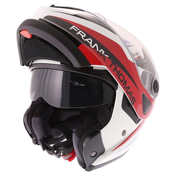 Frank Thomas DV06 White Red Blue Flip Front Motorcycle Helmet Flip Open