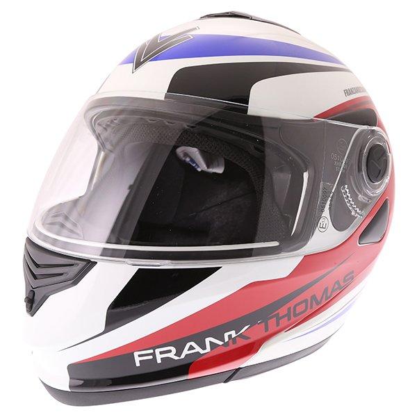Frank Thomas DV06 White Red Blue Flip Front Motorcycle Helmet Front Left