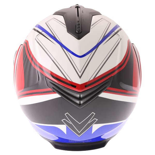 Frank Thomas DV06 White Red Blue Flip Front Motorcycle Helmet Back