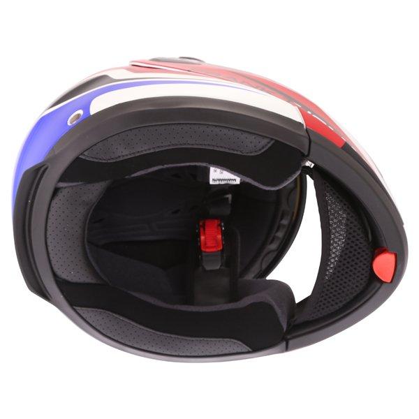 Frank Thomas DV06 White Red Blue Flip Front Motorcycle Helmet Inside