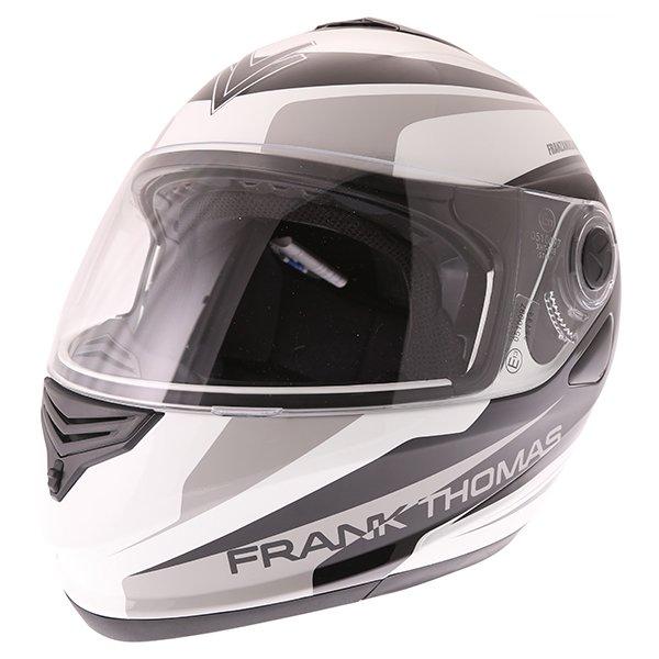 Frank Thomas DV06 White Black Grey Flip Front Motorcycle Helmet Front Left