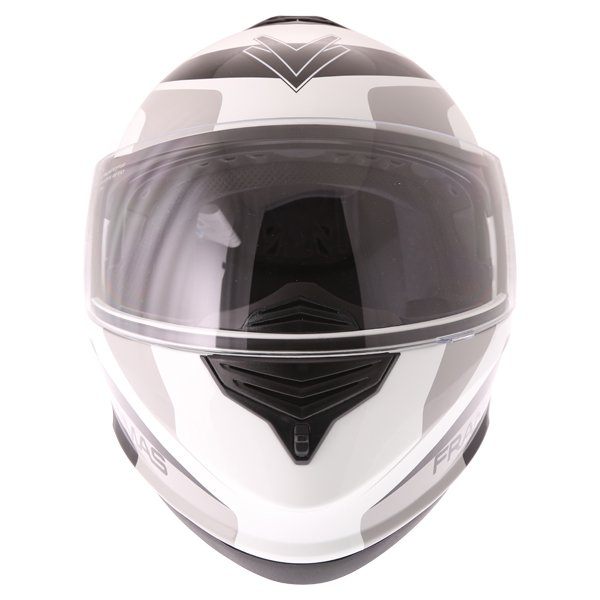 Frank Thomas DV06 White Black Grey Flip Front Motorcycle Helmet Front
