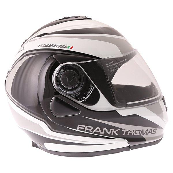 Frank Thomas DV06 White Black Grey Flip Front Motorcycle Helmet Right Side