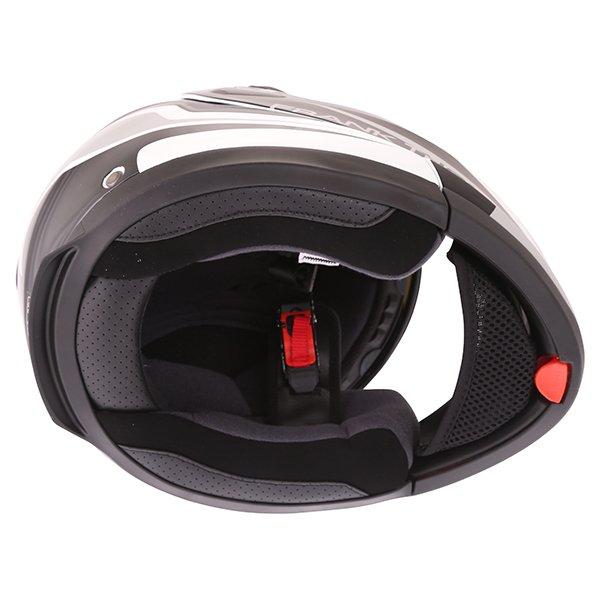 Frank Thomas DV06 White Black Grey Flip Front Motorcycle Helmet Inside