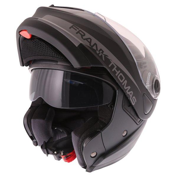 Frank Thomas DV06 Matt Black Grey Flip Front Motorcycle Helmet Flip Open