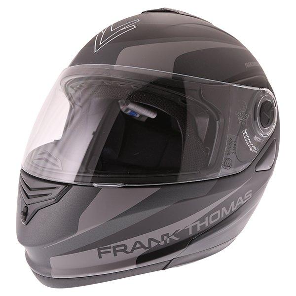 Frank Thomas DV06 Matt Black Grey Flip Front Motorcycle Helmet Front Left