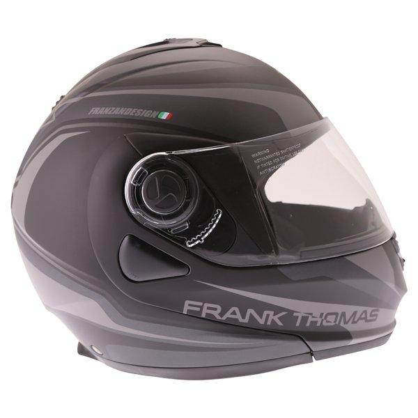 Frank Thomas DV06 Matt Black Grey Flip Front Motorcycle Helmet Right Side