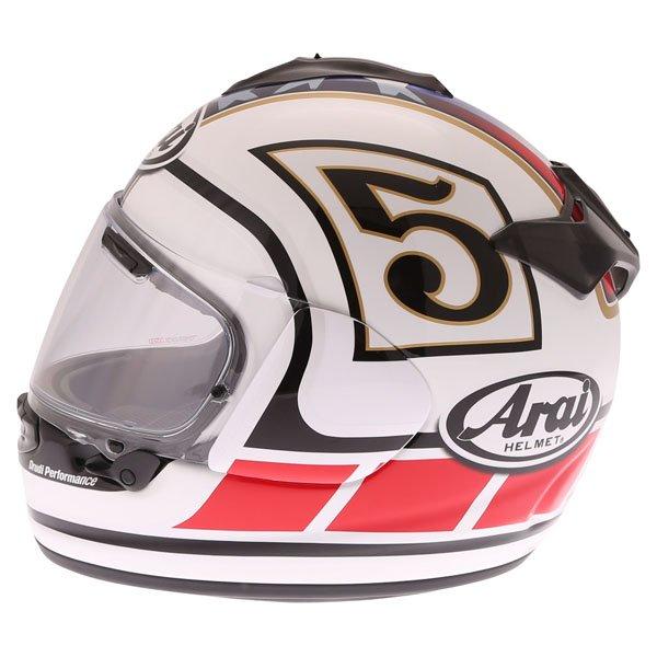 Arai Chaser-X Edwards Legend White Full Face Motorcycle Helmet Left Side