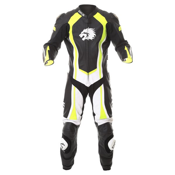 BKS Performance Mens Black White Yellow Leather Motorcycle Suit Front