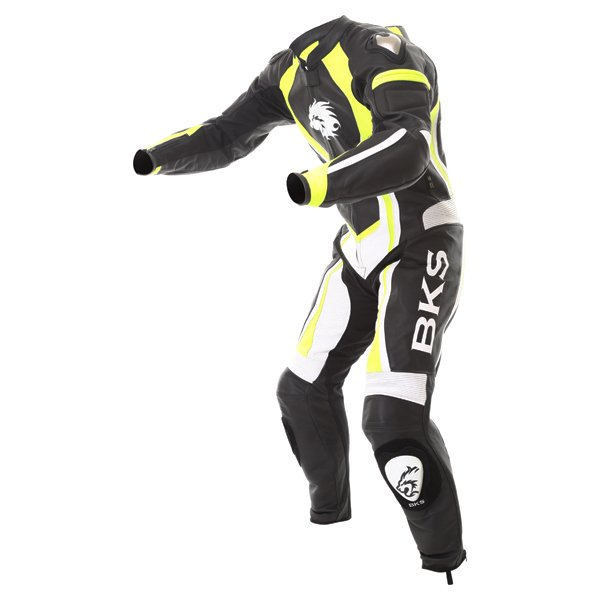 BKS Performance Mens Black White Yellow Leather Motorcycle Suit Racing crouch