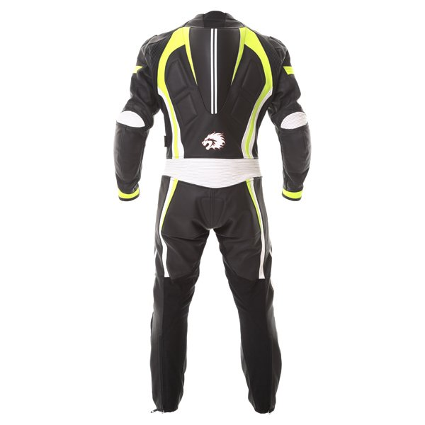 BKS Performance Mens Black White Yellow Leather Motorcycle Suit Back