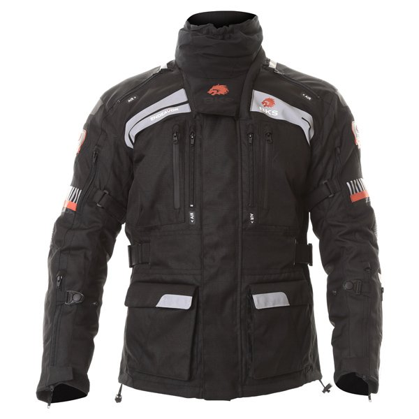 BKS Endeavour Mens Black Anthracite Red Textile Motorcycle Jacket Front