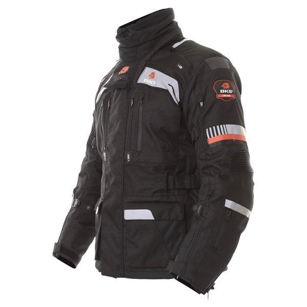 BKS Endeavour Mens Black Anthracite Red Textile Motorcycle Jacket Side