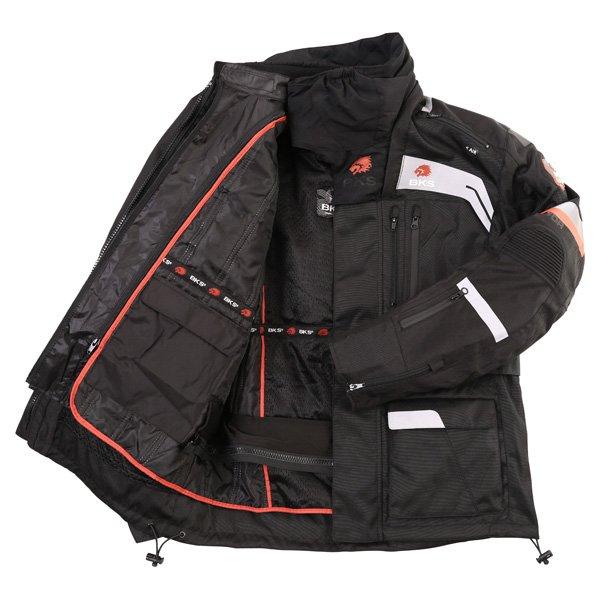 BKS Endeavour Mens Black Anthracite Red Textile Motorcycle Jacket Inside