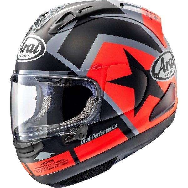 Arai RX-7V Maverick Black Red Grey Full Face Motorcycle Helmet Left Side