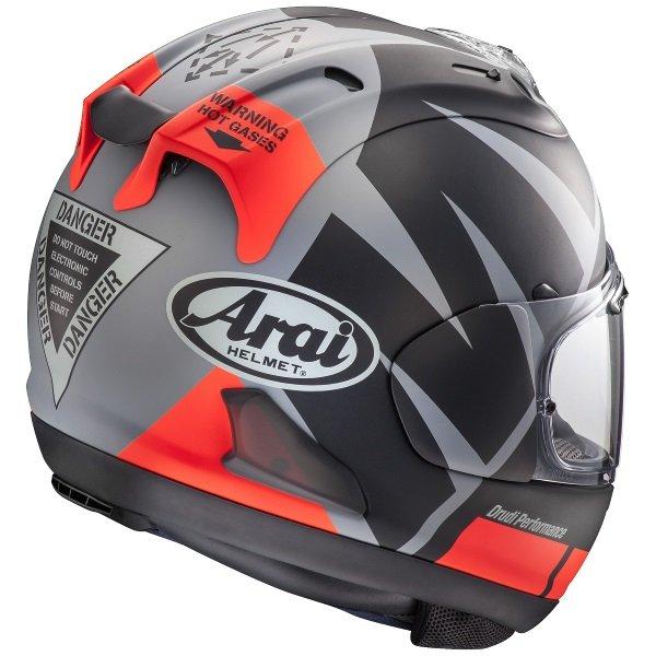 Arai RX-7V Maverick Black Red Grey Full Face Motorcycle Helmet Back Right