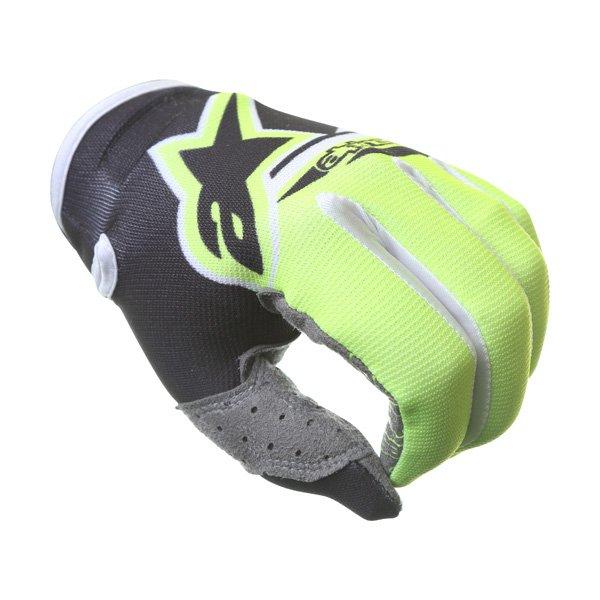 Alpinestars Radar Flight Black Yellow Motocross Gloves Knuckle